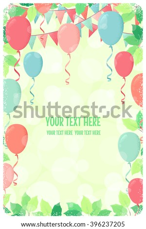 Vertical template with fresh green spring leaves, multicolored party flags and balloons. Retro vector illustration. Place for your text. Invitation, banner, card, poster, flyer, gift certificate - stock vector