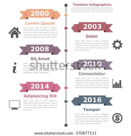 Vertical timeline infographics design template, vector eps10 illustration - stock vector