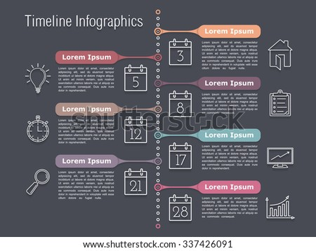 Vertical timeline infographics design template with line icons, vector eps10 illustration - stock vector