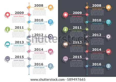 Vertical timeline infographics with place for icons dates and text, vector eps10 illustration
