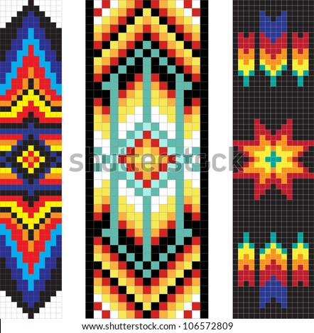 Vertical traditional Native American patterns, vector