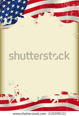 Vertical USA flag background.  A poster with a large scratched frame and a Grunge USA flag for your advertising. - stock vector