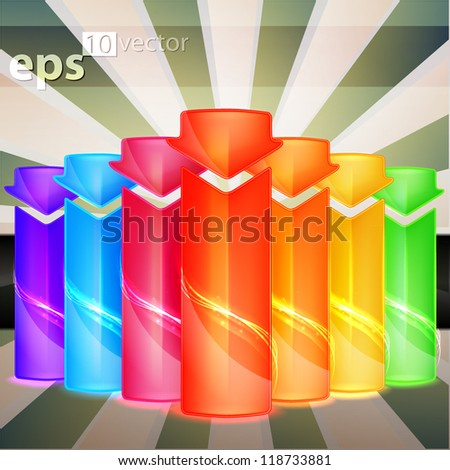 Vertical vector banner, set of seven rainbow colored and arrow shaped, eps10 - stock vector