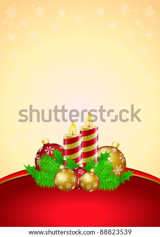 Vertical vector illustration of the Christmas card with candles and baubles - stock vector
