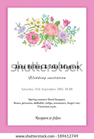 Vertical vector vintage wedding invitation. Floral bouquet with roses, anemones, tulips and daffodils in Victorian style on pink background.