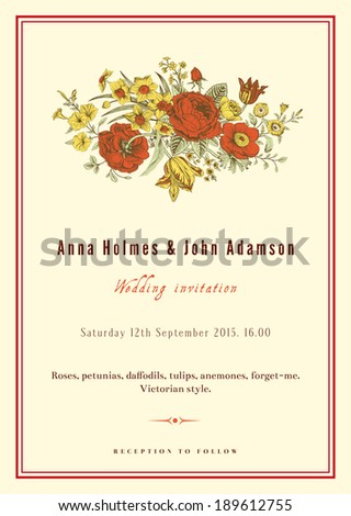 Vertical vector vintage wedding invitation. Floral bouquet with roses, anemones, tulips and daffodils in Victorian style on beige background.