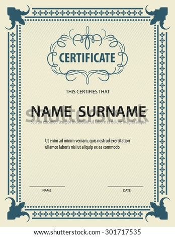 vertical vintage certificate template,diploma,Letter size ,layered vector