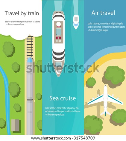 Vertical web banners with top view of train, ship, plane, flat vector icons. Travel and delivery concepts, vector illustration - stock vector