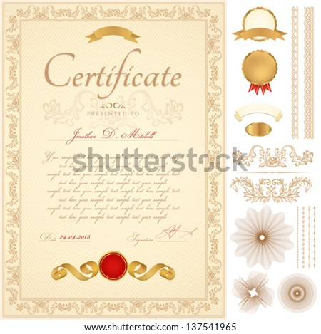 Yellow certificate of completion Vector  Free Download