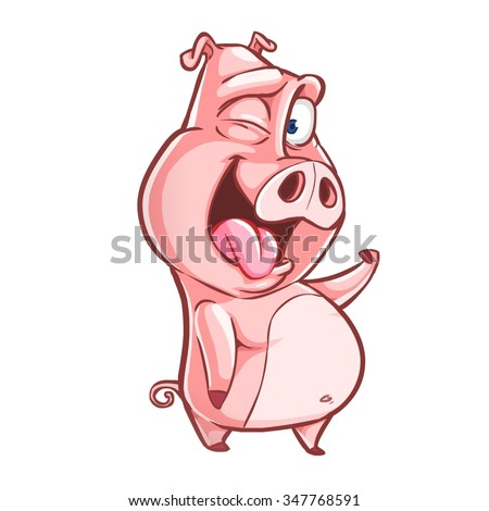 Very adorable pig character smiling and winking isolated on white background - stock vector