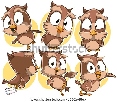 Very adorable set cartoon owl bird stock vector 365264867 very adorable set of cartoon owl bird character with different poses and emotions isolated on background voltagebd Choice Image