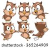 Very adorable set of cartoon owl bird character with different poses and emotions isolated on white background - stock vector