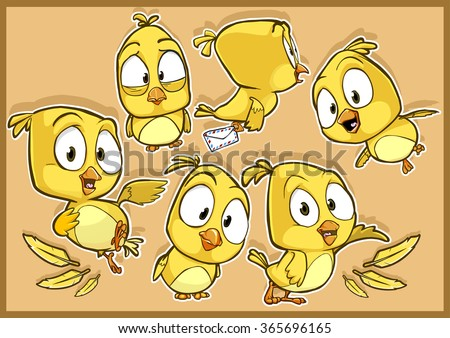 Very adorable yellow canary bird cartoon character set with different poses and emotions isolated on the background - stock vector