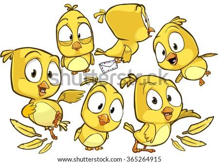 Very adorable yellow cartoon bird character set with different poses and emotions isolated on white background - stock vector