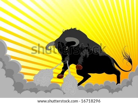 very aggressive bull - stock vector