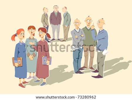 Very alike people (the colleagues or a friends) are discussing something important. - stock vector