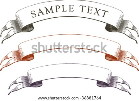 Very ancient banner in 3 options with time-worn effect of old etching - stock vector