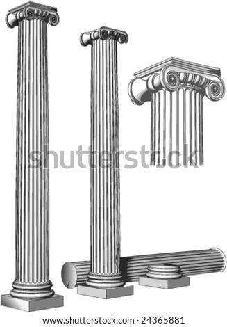Very ancient pillars - stock vector