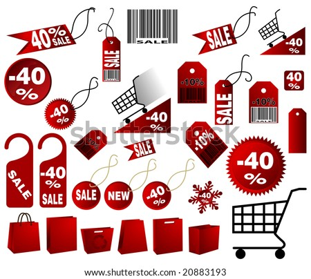 very big Set of red price tags in vector design - stock vector