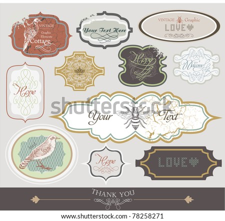 very cool vintage tags sticker collection3 - best for scrap-booking project- book cover project - stock vector