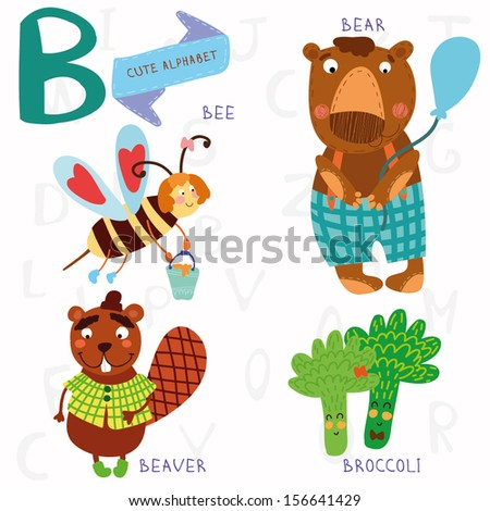 Very cute alphabet. A letter. Bee, beaver, bear, broccoli. Alphabet design in a colorful style. - stock vector