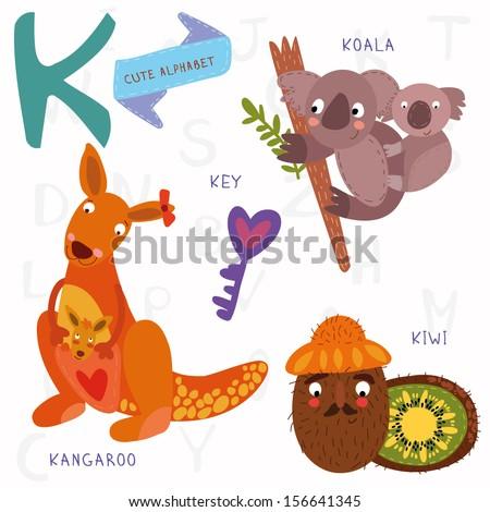 Very cute alphabet. A letter. kangaroo, koala, kiwi,key. Alphabet design in a colorful style. - stock vector