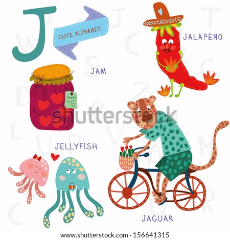 Very cute alphabet. J letter. Jam, jalapeno, jellyfish, jaguar. Alphabet design in a colorful style. - stock vector