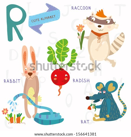 Very cute alphabet. R letter.Rat, raccoon, radishes, rabbit. Alphabet design in a colorful style. - stock vector
