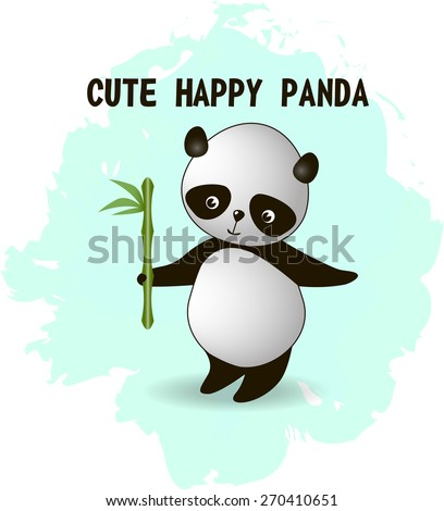 Very cute little panda bear on a blot turquoise background, vector illustration - stock vector