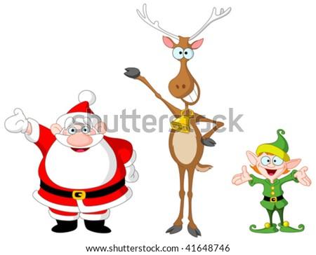 Very cute Santa Claus, rudolph and elf - stock vector