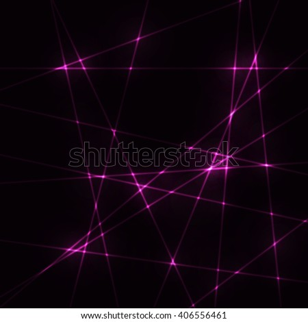 Very dark background with pink / lilac laser beams - stock vector