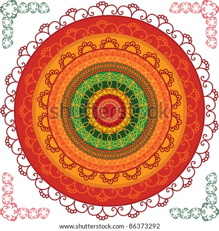 Very detailed and colourful Mandala design - stock vector