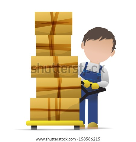 Very Detailed Drawn Transport Worker - Isolated On White Background - Vector Illustration, Graphic Design Useful For Your Design  - stock vector
