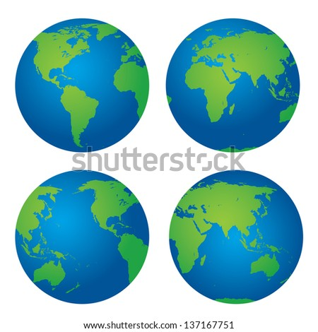 very detailed earth globes - stock vector