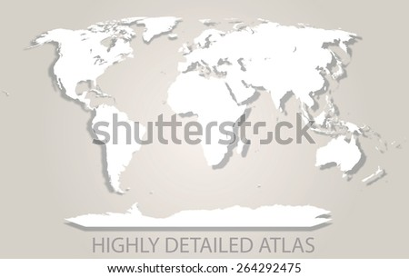 Very detailed map of the world - stock vector
