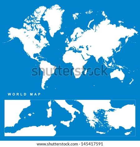 Very Detailed Vector World Map - stock vector
