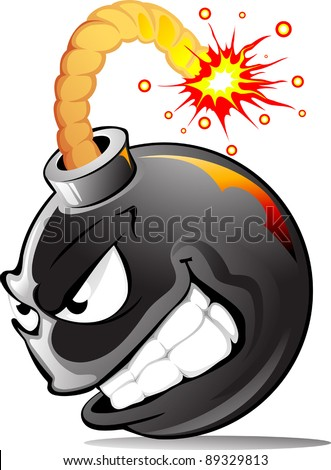 Very evil cartoon bomb ready to explode!