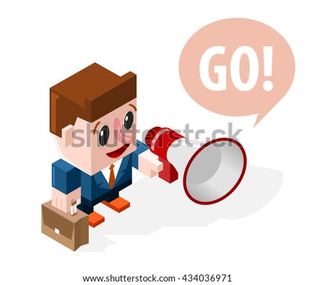 Very Happy Cartoon Businessman with a Megaphone on White Background. Business Concept. Isolated Vector Elements. - stock vector