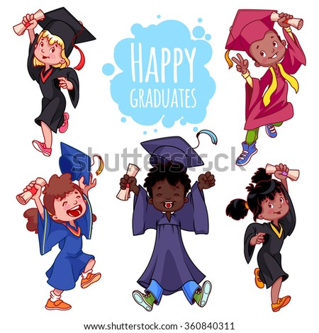 Very happy kids. Graduates in gowns and with a diploma in hand. Set of vector cartoon characters on white background. - stock vector