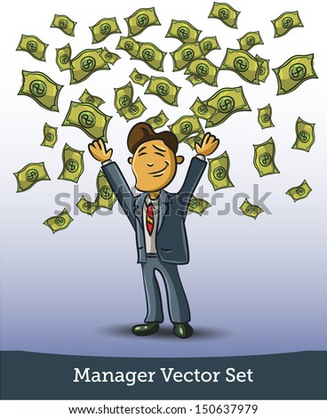 Very happy man under a rain of cash