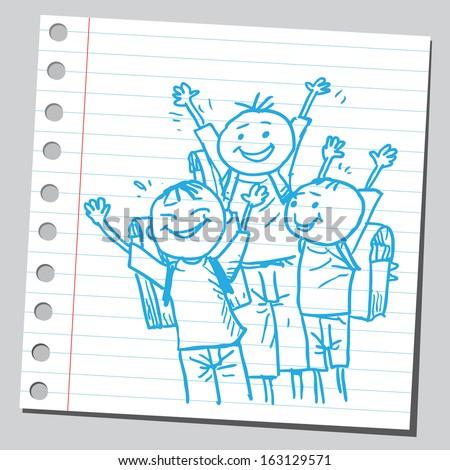 Very happy schoolkids - stock vector