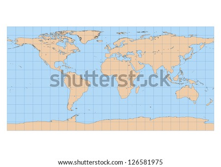 Very high detailed map of the world in Equirectangular projection with graticule. Centered in Europe and Africa - stock vector