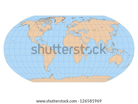 Very high detailed map of the world in Robinson projection with graticule. Centered in Europe and Africa - stock vector