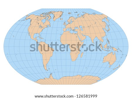 Very high detailed map of the world in Winkel Tripel projection with graticule. Centered in Europe and Africa - stock vector