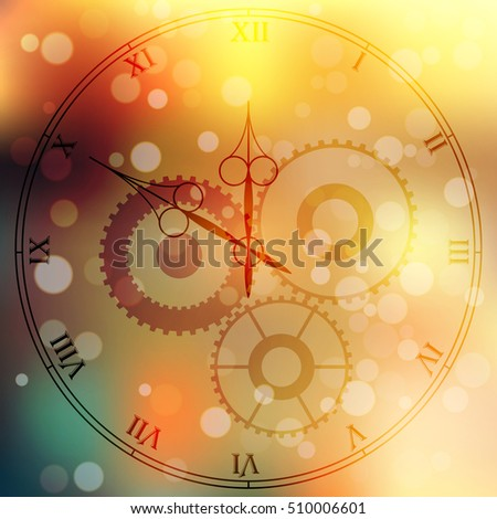 Very high quality original trendy vector antique clock face with roman numbers and vintage pointer isolated on blured boke background