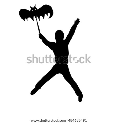 Very high quality original trendy  vector illustration of halloween boy with bat umbrella