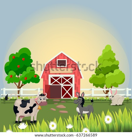 Very high quality original trendy vector illustration of happy and cheerful donkey, cow and rabbit on farm with fruit trees and chamomiles, farm animal