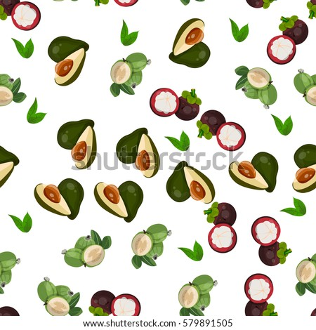 Very high quality original trendy vector seamless pattern with feijoa, avocado, mangosteen, exotic tropical fruit