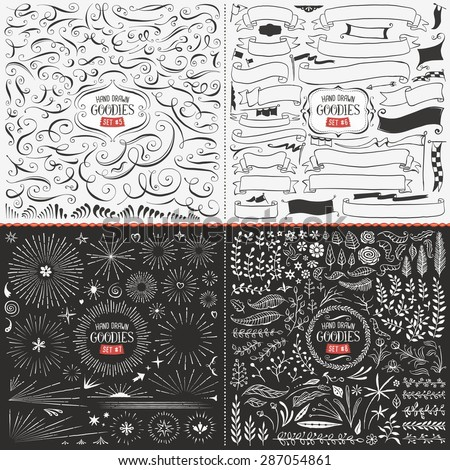 Very large collection of hand drawn vector design elements such as swirls, ribbons, flags, bursts, flowers and leaves. - stock vector
