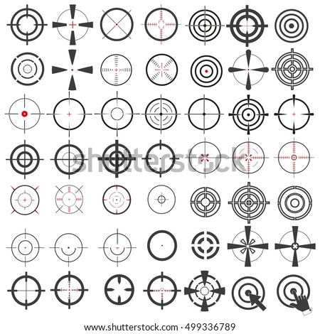 Very large collection of icons, symbols, weapons sights, target, ,sniper scope. Isolation on a white background. Stylish vector illustration for web design.